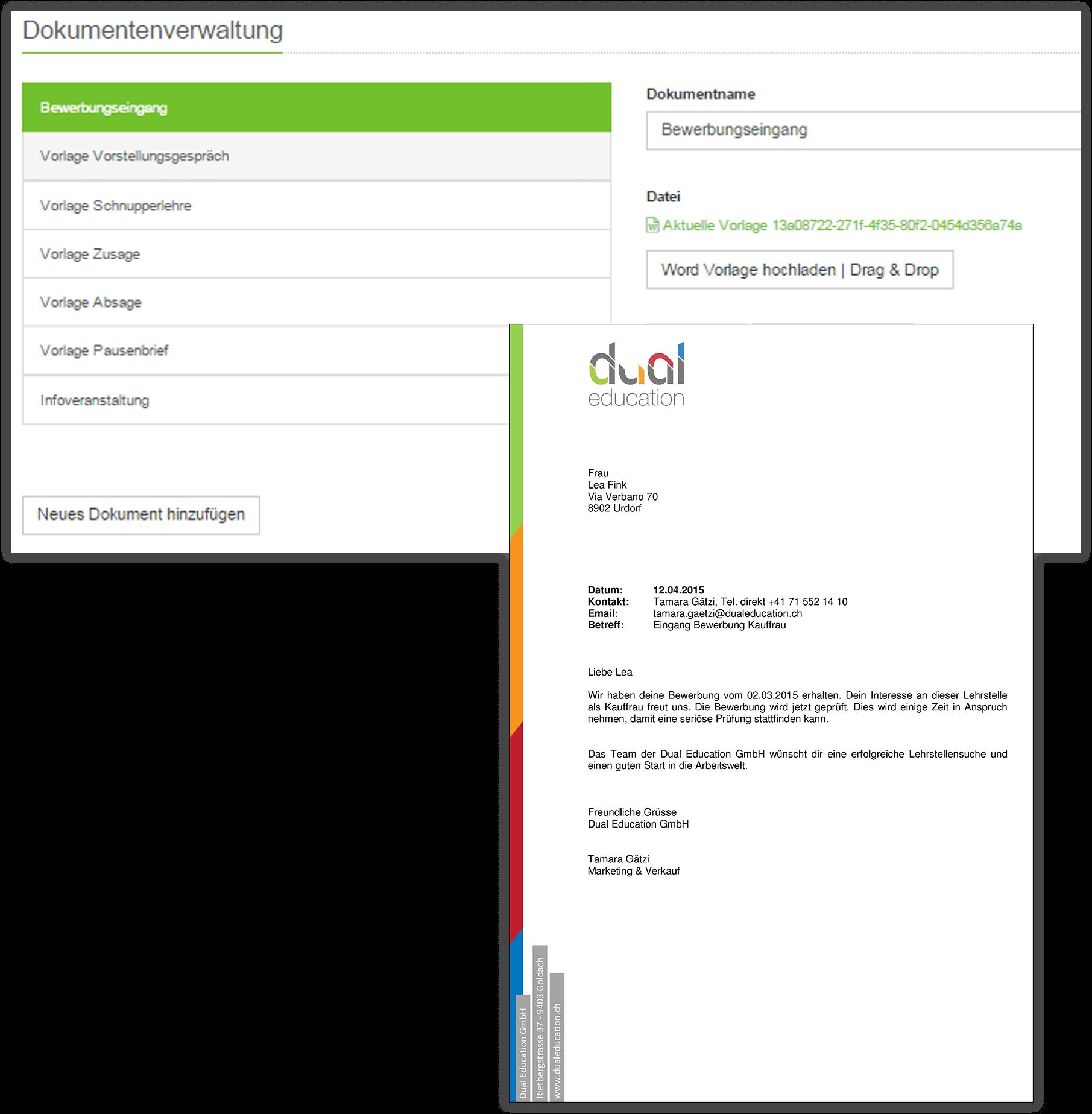 Dokumentenverwaltung in den Einstellungen von Dualoo mit generierter Korrespondenz